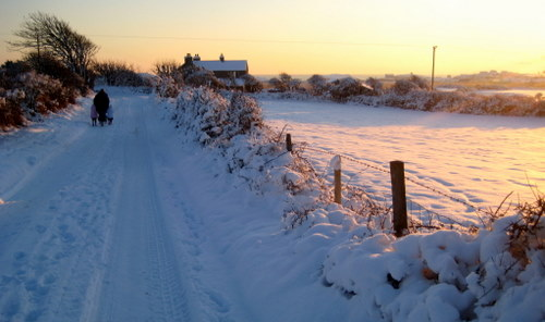 Snow on Rhoscolyn Lane during Winter