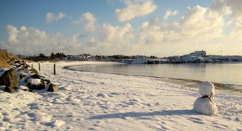 Snow on Rhoscolyn Beach during Winter
